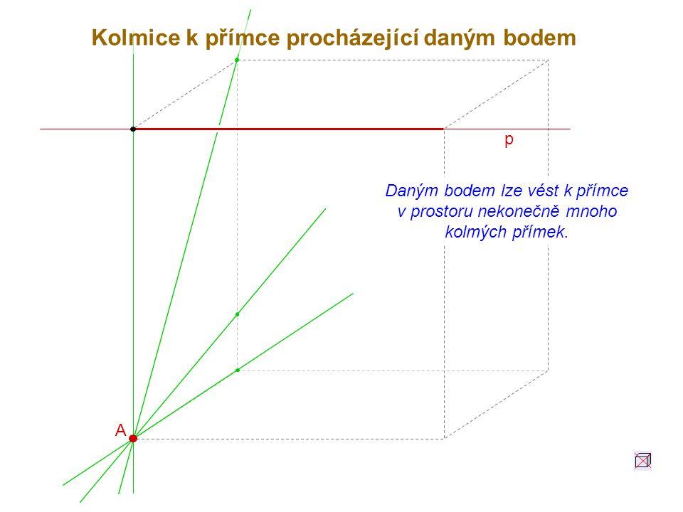 p A Daným bodem lze vést k přímce v prostoru nekonečně mnoho kolmých přímek. Kolmice k přímce procházející daným bodem