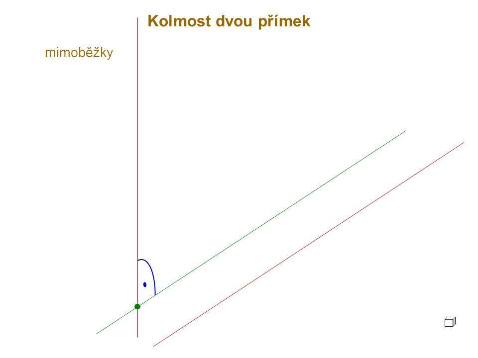 Kolmost dvou přímek Dvě přímky (různoběžné nebo mimoběžné) jsou kolmé, jestliže jejich odchylka je 90°.