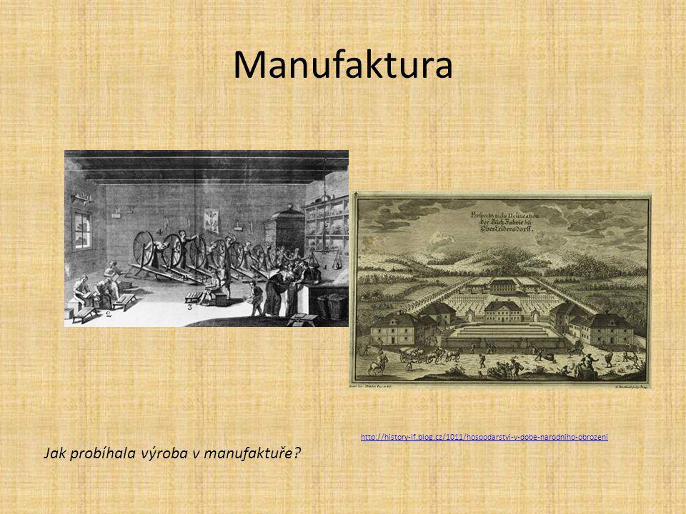 Manufaktura http://history-if.blog.cz/1011/hospodarstvi-v-dobe-narodniho-obrozeni Jak probíhala výroba v manufaktuře?