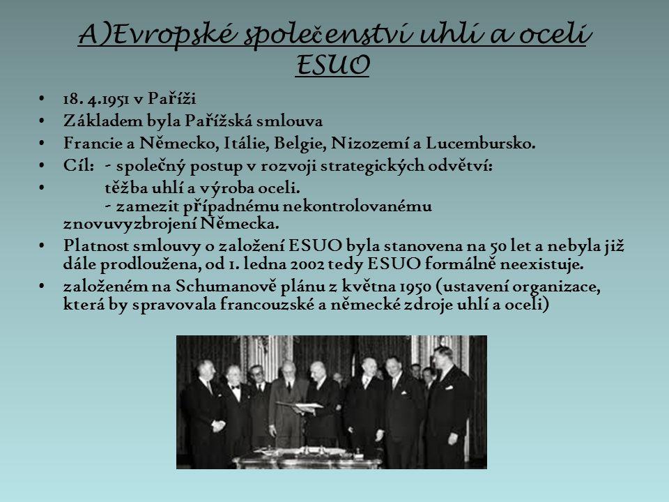 Jean Monnet p ř i otev ř ení trhu ESUO v roce 1951 Jean Monnet (1888 – 1979) - jeden ze zakladatel ů Evropského spole č enství - francouzský politik, diplomat a ekonom
