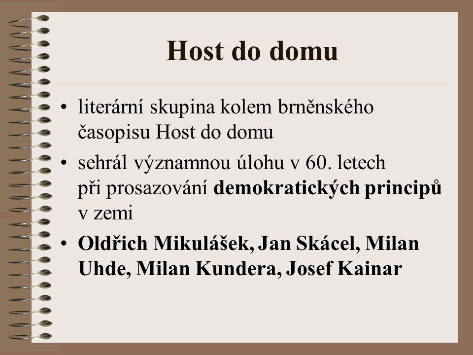 Host do domu literární skupina kolem brněnského časopisu Host do domu sehrál významnou úlohu v 60.