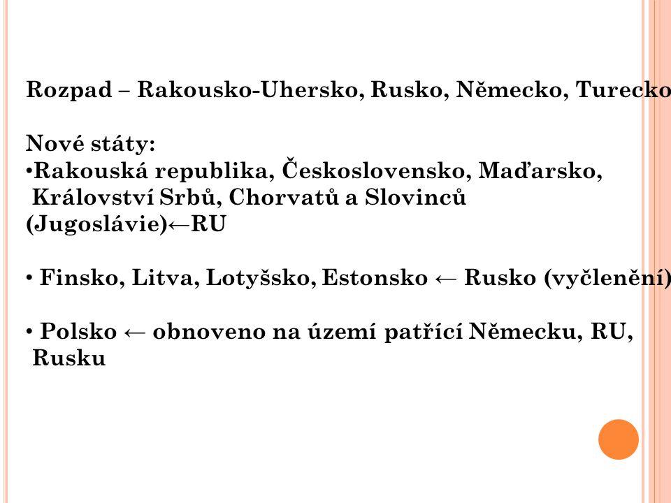 Rozpad – Rakousko-Uhersko, Rusko, Německo, Turecko Nové státy: Rakouská republika, Československo, Maďarsko, Království Srbů, Chorvatů a Slovinců (Jug