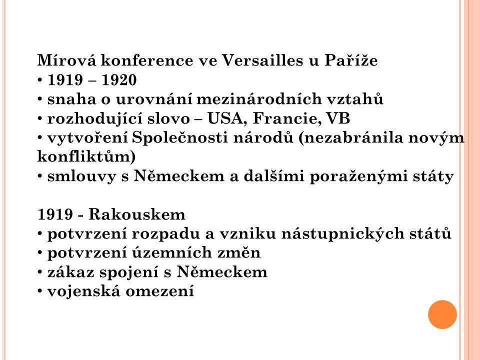 Mírová konference ve Versailles u Paříže 1919 – 1920 snaha o urovnání mezinárodních vztahů rozhodující slovo – USA, Francie, VB vytvoření Společnosti