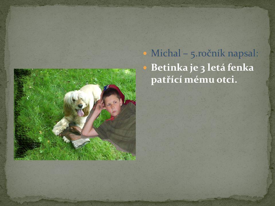 Michal – 5.ročník napsal: Betinka je 3 letá fenka patřící mému otci.