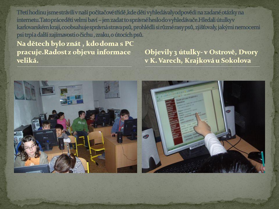 Na dětech bylo znát, kdo doma s PC pracuje.Radost z objevu informace veliká. Objevily 3 útulky- v Ostrově, Dvory v K. Varech, Krajková u Sokolova