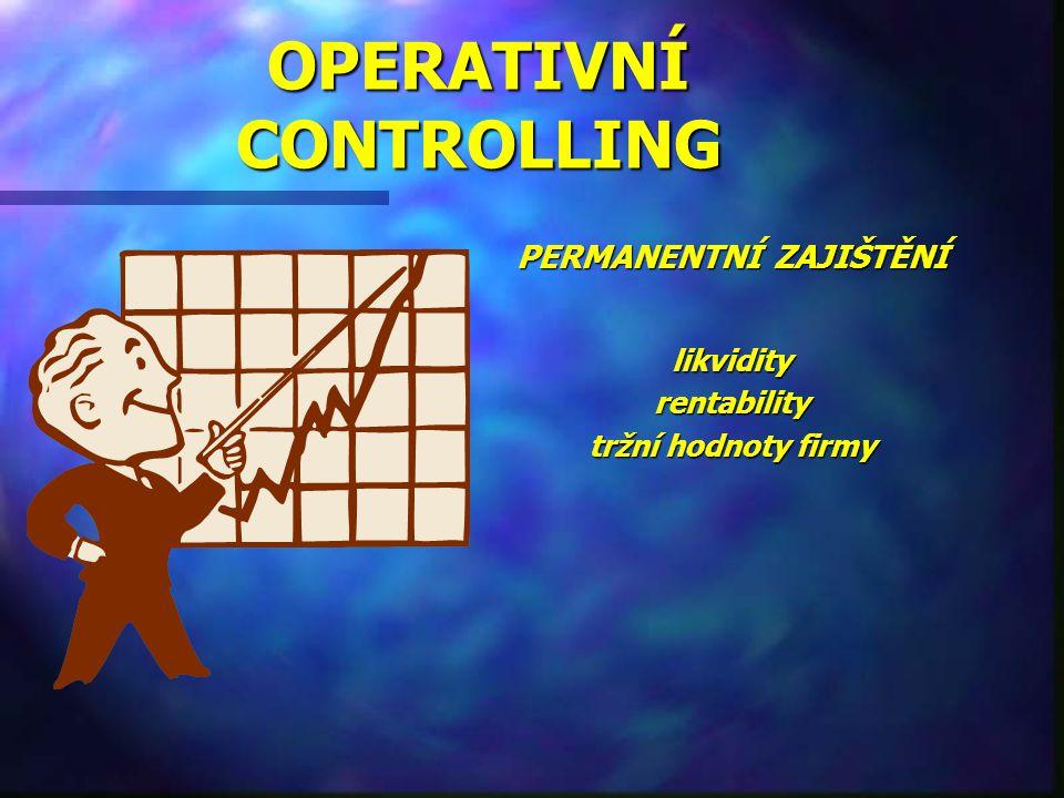 OPERATIVNÍ CONTROLLING PERMANENTNÍ ZAJIŠTĚNÍ likvidity rentability tržní hodnoty firmy