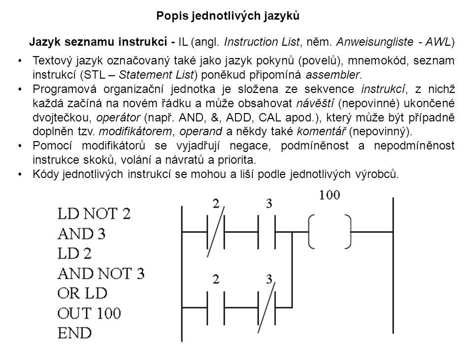 Textový jazyk označovaný také jako jazyk pokynů (povelů), mnemokód, seznam instrukcí (STL – Statement List) poněkud připomíná assembler. Programová or