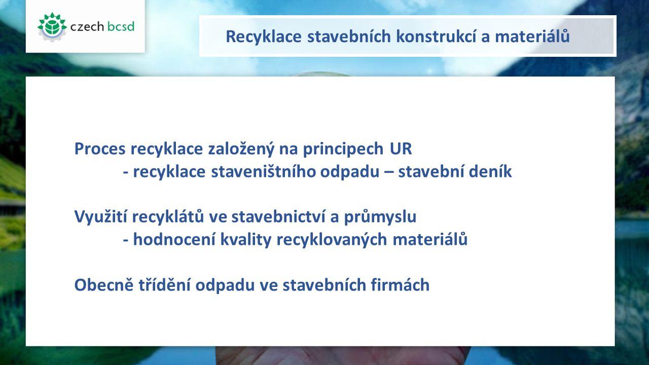 Recyklace stavebních konstrukcí a materiálů Proces recyklace založený na principech UR - recyklace staveništního odpadu – stavební deník Využití recyklátů ve stavebnictví a průmyslu - hodnocení kvality recyklovaných materiálů Obecně třídění odpadu ve stavebních firmách