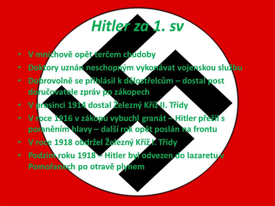 Hitler za 1. sv V mnichově opět terčem chudoby Doktory uznán neschopným vykonávat vojenskou službu Dobrovolně se přihlásil k dělostřelcům – dostal pos