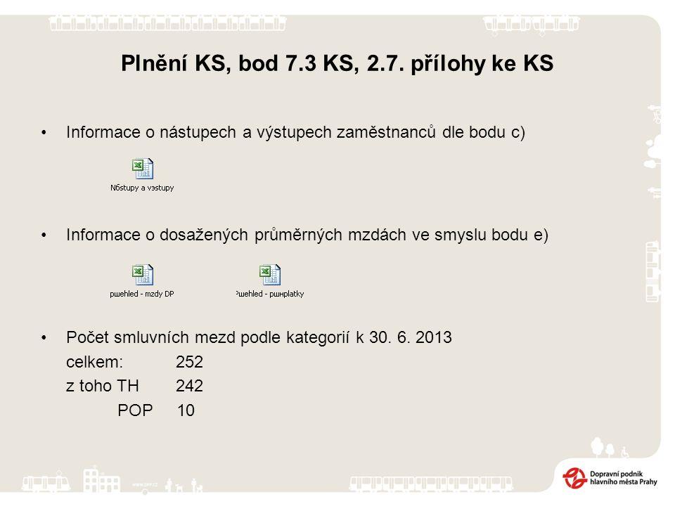 Plnění KS, bod 7.3 KS, 2.7.