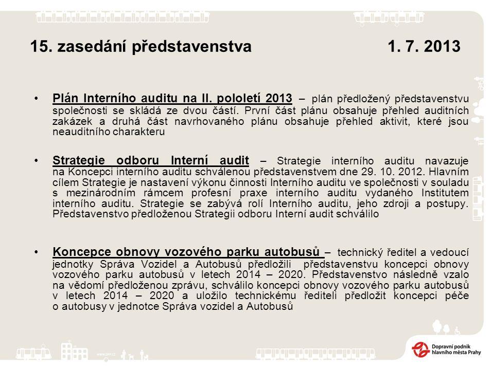 15. zasedání představenstva 1. 7. 2013 Plán Interního auditu na II.