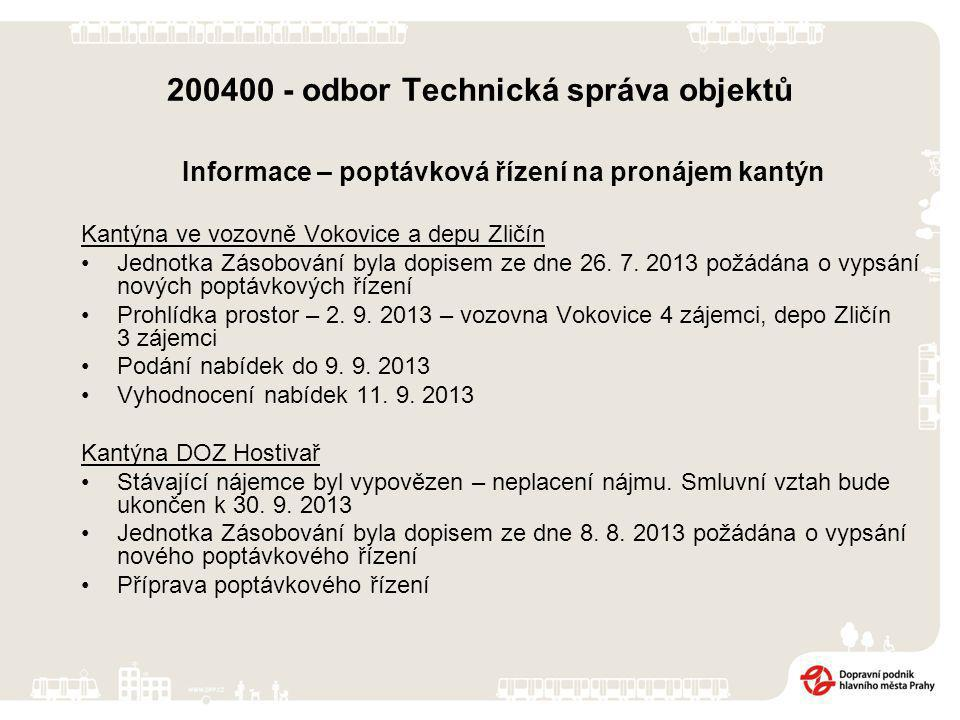 200400 - odbor Technická správa objektů Informace – poptávková řízení na pronájem kantýn Kantýna ve vozovně Vokovice a depu Zličín Jednotka Zásobování byla dopisem ze dne 26.