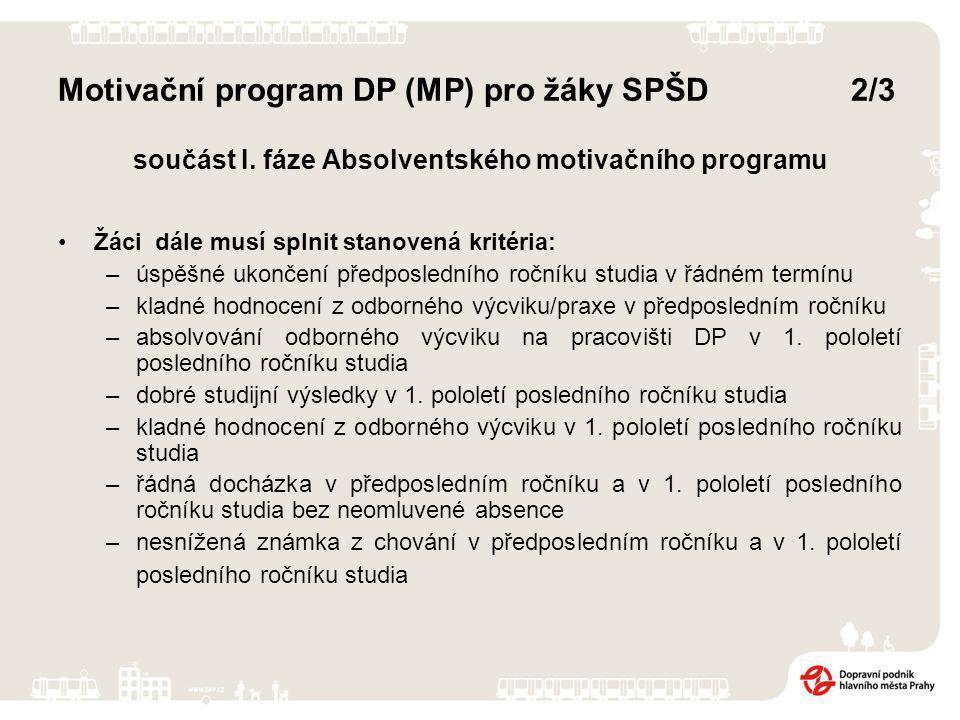 Motivační program DP (MP) pro žáky SPŠD 2/3 součást I.