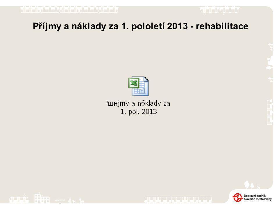 Příjmy a náklady za 1. pololetí 2013 - rehabilitace