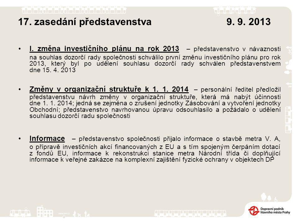 17. zasedání představenstva9. 9. 2013 I.