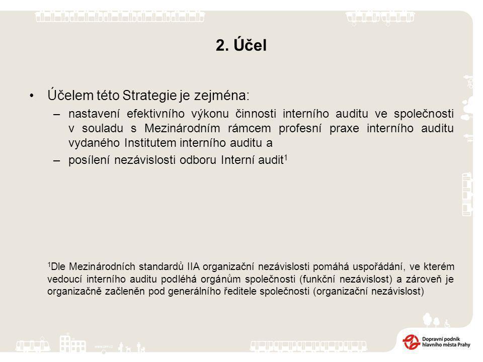 2. Účel Účelem této Strategie je zejména: –nastavení efektivního výkonu činnosti interního auditu ve společnosti v souladu s Mezinárodním rámcem profe