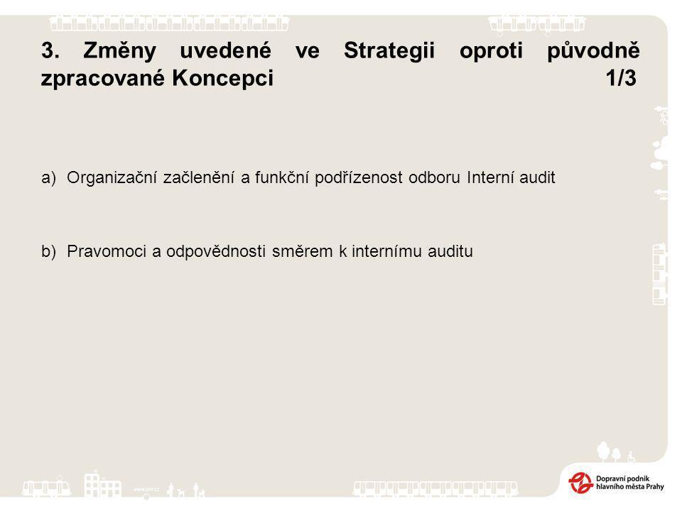 3. Změny uvedené ve Strategii oproti původně zpracované Koncepci1/3 a)Organizační začlenění a funkční podřízenost odboru Interní audit b)Pravomoci a o