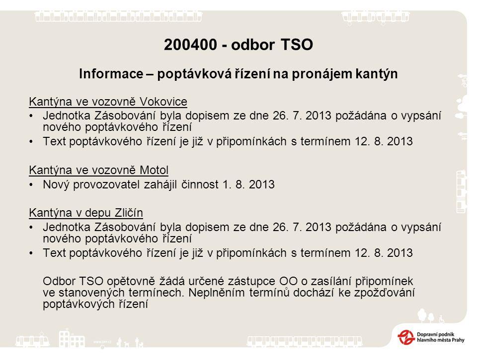 200400 - odbor TSO Informace – poptávková řízení na pronájem kantýn Kantýna ve vozovně Vokovice Jednotka Zásobování byla dopisem ze dne 26. 7. 2013 po