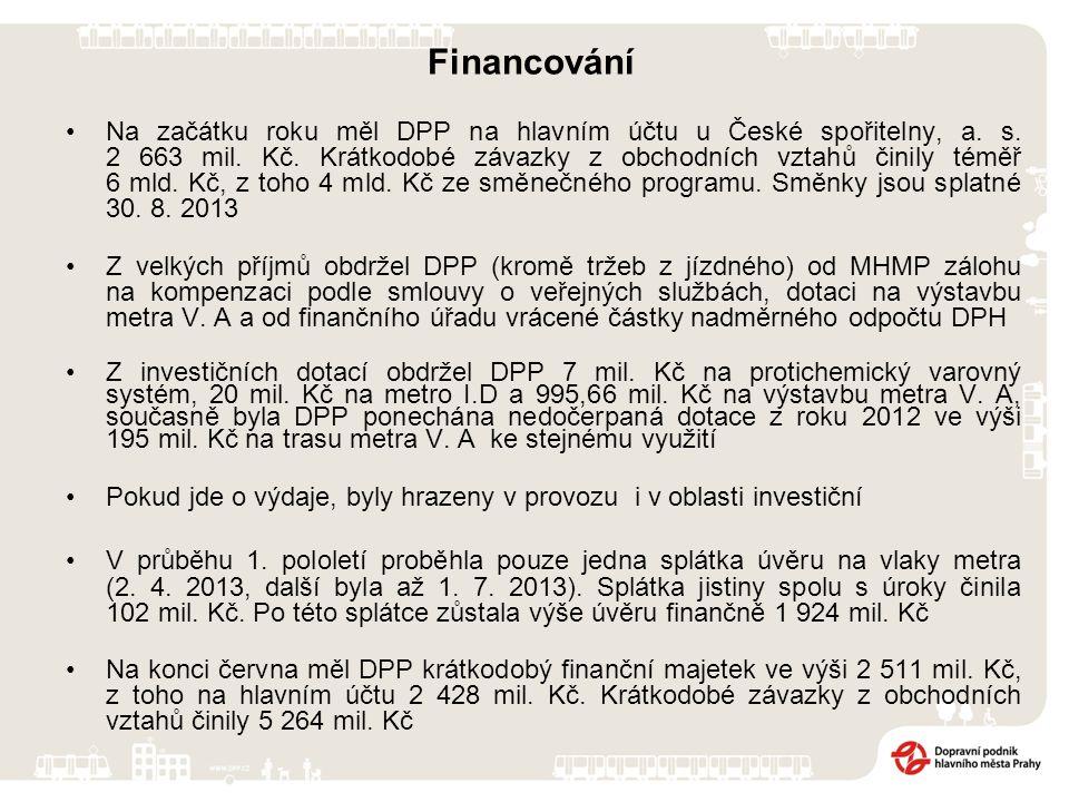 Financování Na začátku roku měl DPP na hlavním účtu u České spořitelny, a. s. 2 663 mil. Kč. Krátkodobé závazky z obchodních vztahů činily téměř 6 mld