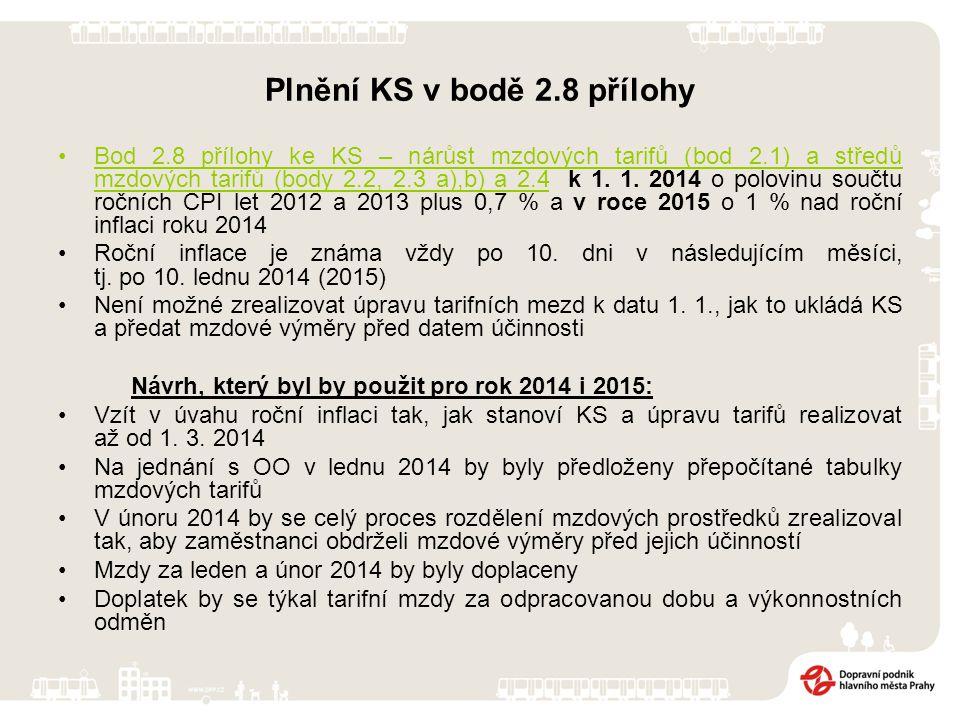 Plnění KS v bodě 2.8 přílohy Bod 2.8 přílohy ke KS – nárůst mzdových tarifů (bod 2.1) a středů mzdových tarifů (body 2.2, 2.3 a),b) a 2.4 k 1. 1. 2014