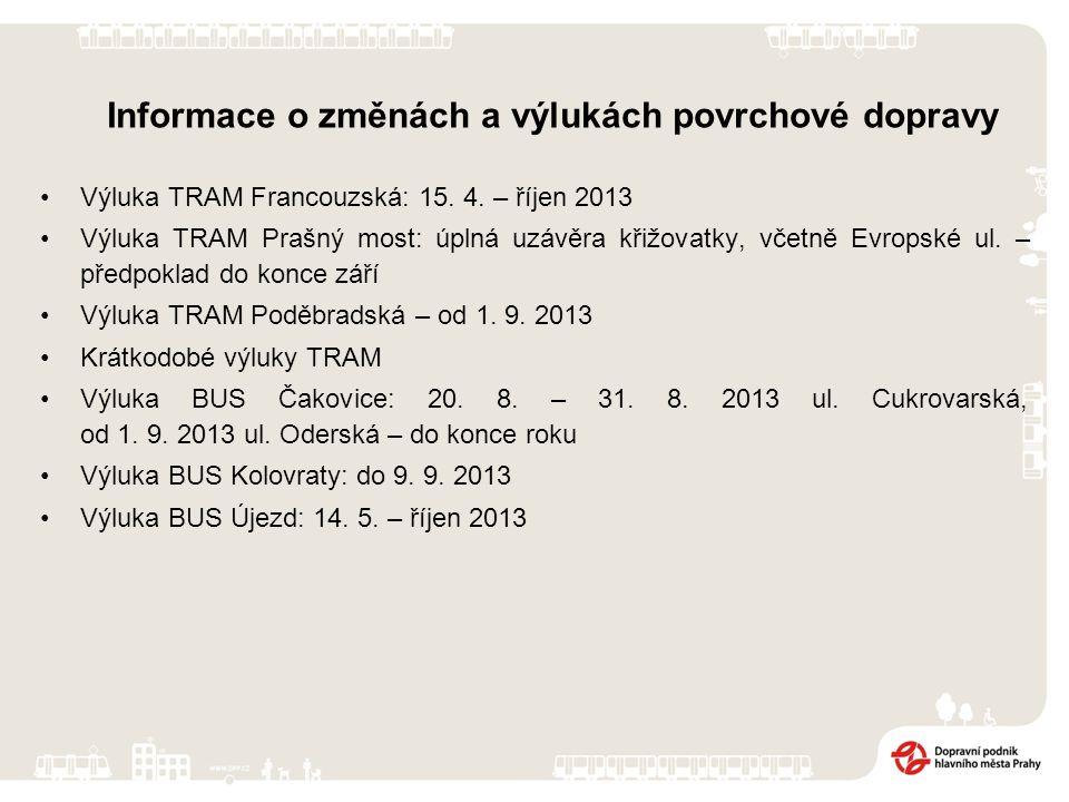 Výluka TRAM Francouzská: 15. 4. – říjen 2013 Výluka TRAM Prašný most: úplná uzávěra křižovatky, včetně Evropské ul. – předpoklad do konce září Výluka