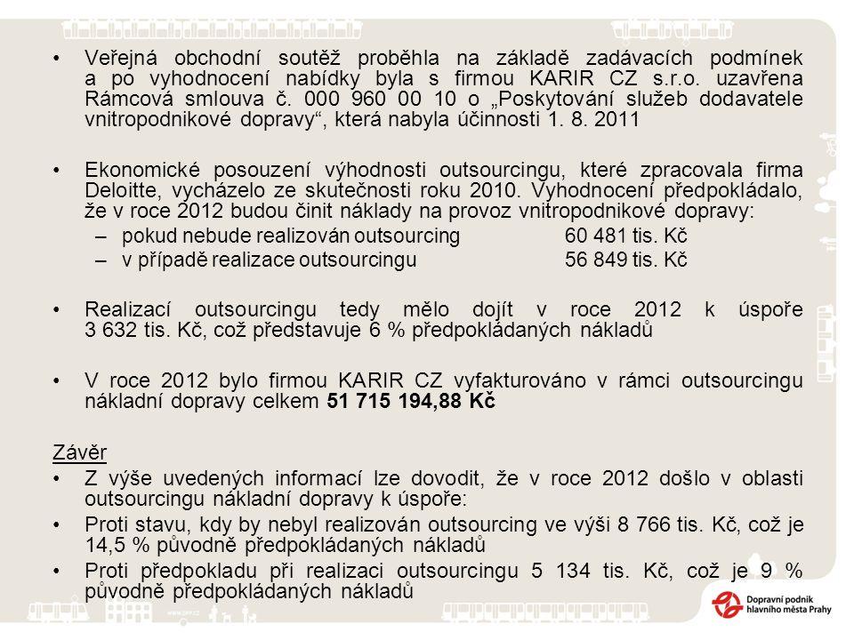 Veřejná obchodní soutěž proběhla na základě zadávacích podmínek a po vyhodnocení nabídky byla s firmou KARIR CZ s.r.o. uzavřena Rámcová smlouva č. 000