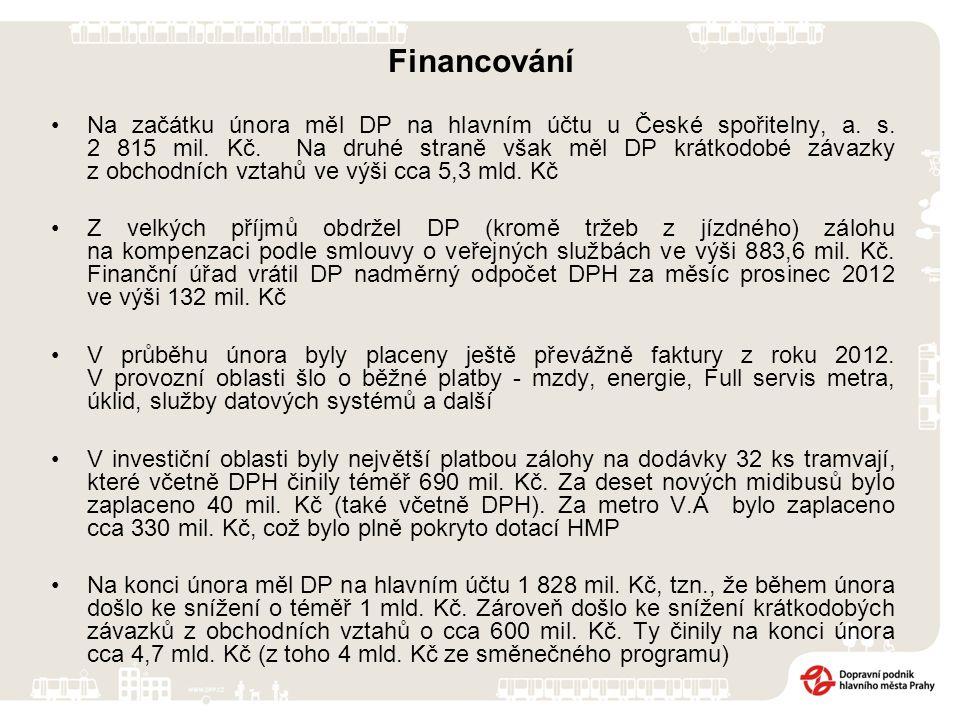 Financování Na začátku února měl DP na hlavním účtu u České spořitelny, a. s. 2 815 mil. Kč. Na druhé straně však měl DP krátkodobé závazky z obchodní