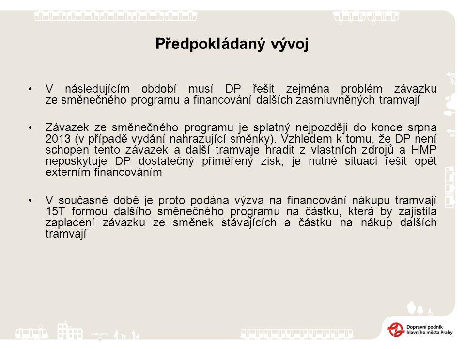 Předpokládaný vývoj V následujícím období musí DP řešit zejména problém závazku ze směnečného programu a financování dalších zasmluvněných tramvají Zá