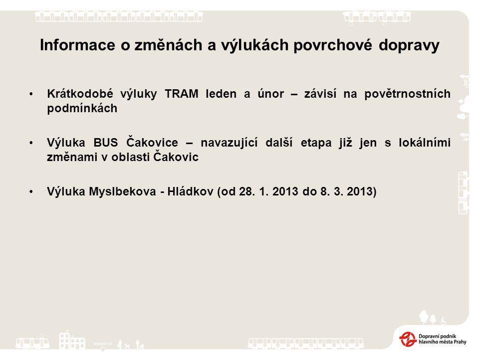 Informace o změnách a výlukách povrchové dopravy Krátkodobé výluky TRAM leden a únor – závisí na povětrnostních podmínkách Výluka BUS Čakovice – navazující další etapa již jen s lokálními změnami v oblasti Čakovic Výluka Myslbekova - Hládkov (od 28.