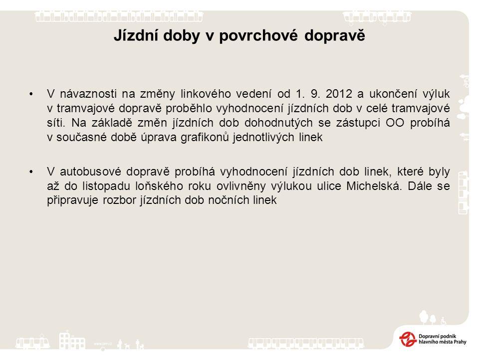 Jízdní doby v povrchové dopravě V návaznosti na změny linkového vedení od 1. 9. 2012 a ukončení výluk v tramvajové dopravě proběhlo vyhodnocení jízdní