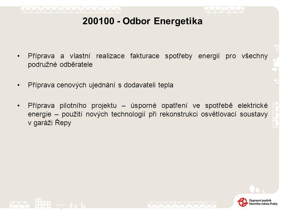 200100 - Odbor Energetika Příprava a vlastní realizace fakturace spotřeby energií pro všechny podružné odběratele Příprava cenových ujednání s dodavateli tepla Příprava pilotního projektu – úsporné opatření ve spotřebě elektrické energie – použití nových technologií při rekonstrukci osvětlovací soustavy v garáži Řepy
