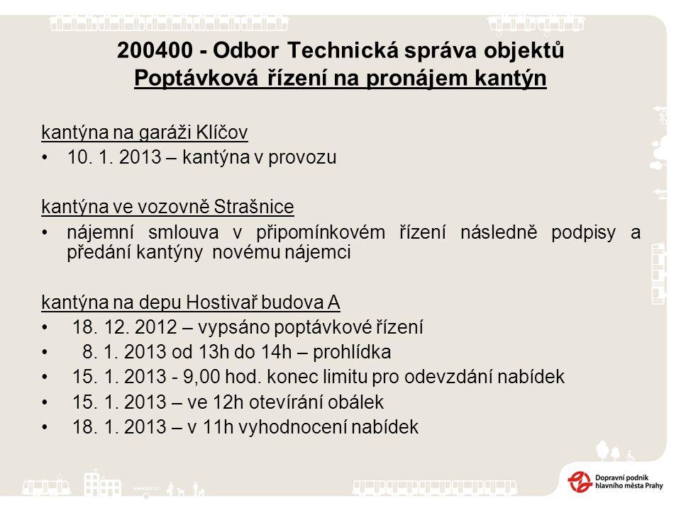 200400 - Odbor Technická správa objektů Poptávková řízení na pronájem kantýn kantýna na garáži Klíčov 10.
