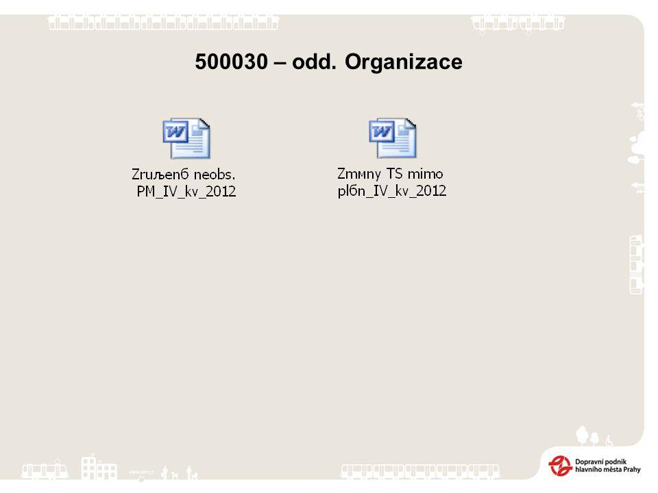 500030 – odd. Organizace