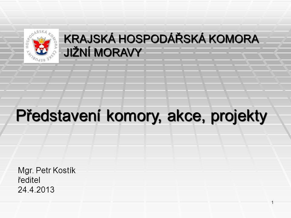 KRAJSKÁ HOSPODÁŘSKÁ KOMORA JIŽNÍ MORAVY Představení komory, akce, projekty Mgr. Petr Kostík ředitel 24.4.2013 1