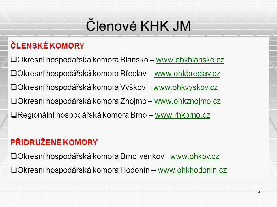 Členové KHK JM ČLENSKÉ KOMORY  Okresní hospodářská komora Blansko – www.ohkblansko.czwww.ohkblansko.cz  Okresní hospodářská komora Břeclav – www.ohk