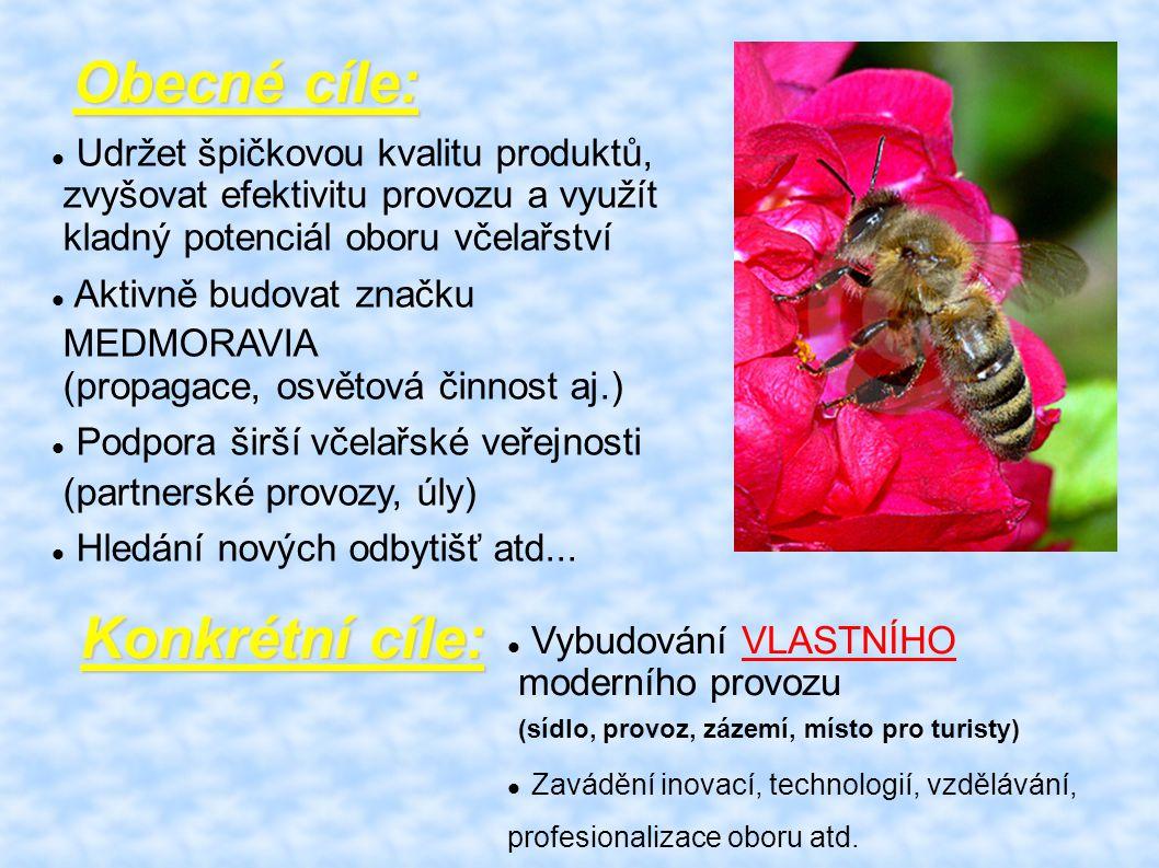 Udržet špičkovou kvalitu produktů, zvyšovat efektivitu provozu a využít kladný potenciál oboru včelařství Aktivně budovat značku MEDMORAVIA (propagace