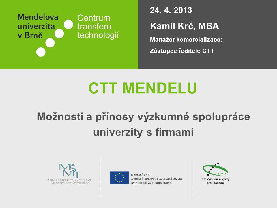 CTT MENDELU Možnosti a přínosy výzkumné spolupráce univerzity s firmami 24. 4. 2013 Kamil Krč, MBA Manažer komercializace; Zástupce ředitele CTT