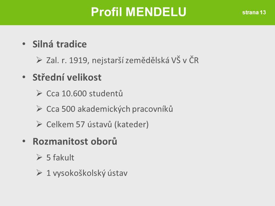 Silná tradice  Zal. r. 1919, nejstarší zemědělská VŠ v ČR Střední velikost  Cca 10.600 studentů  Cca 500 akademických pracovníků  Celkem 57 ústavů
