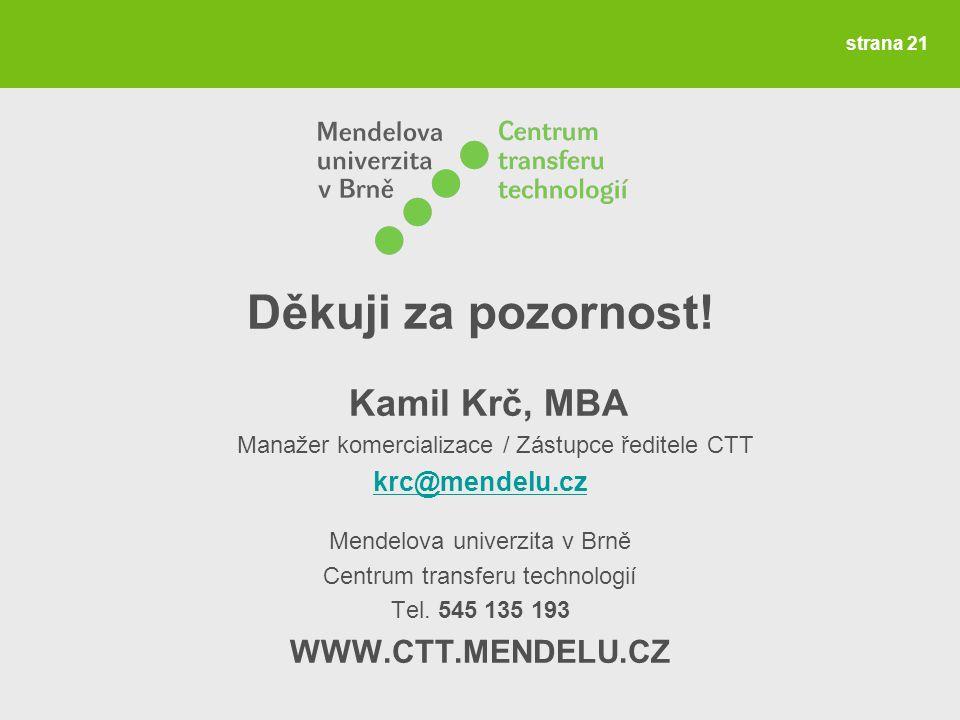 Děkuji za pozornost! Kamil Krč, MBA Manažer komercializace / Zástupce ředitele CTT krc@mendelu.cz Mendelova univerzita v Brně Centrum transferu techno