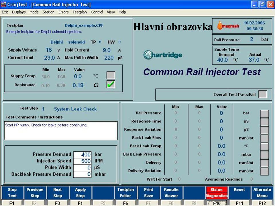www.hartridge.com Hlavní obrazovka