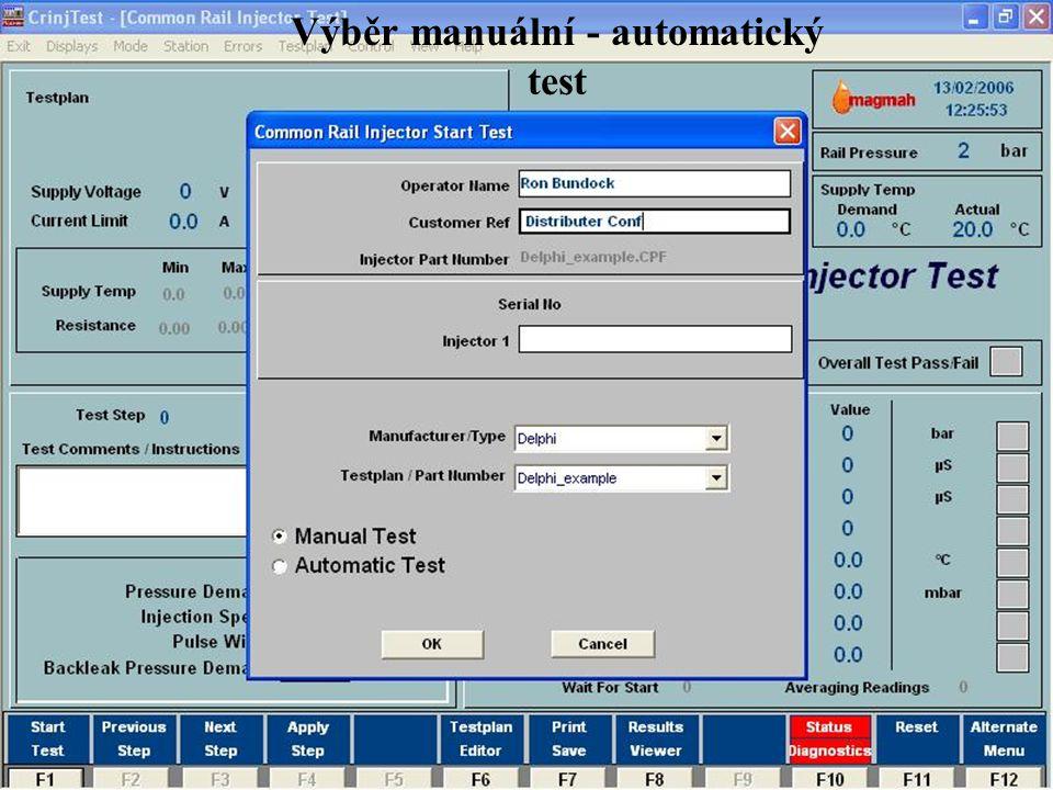 www.hartridge.com Výběr manuální - automatický test