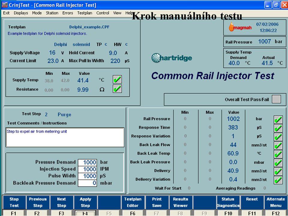 www.hartridge.com Krok manuálního testu