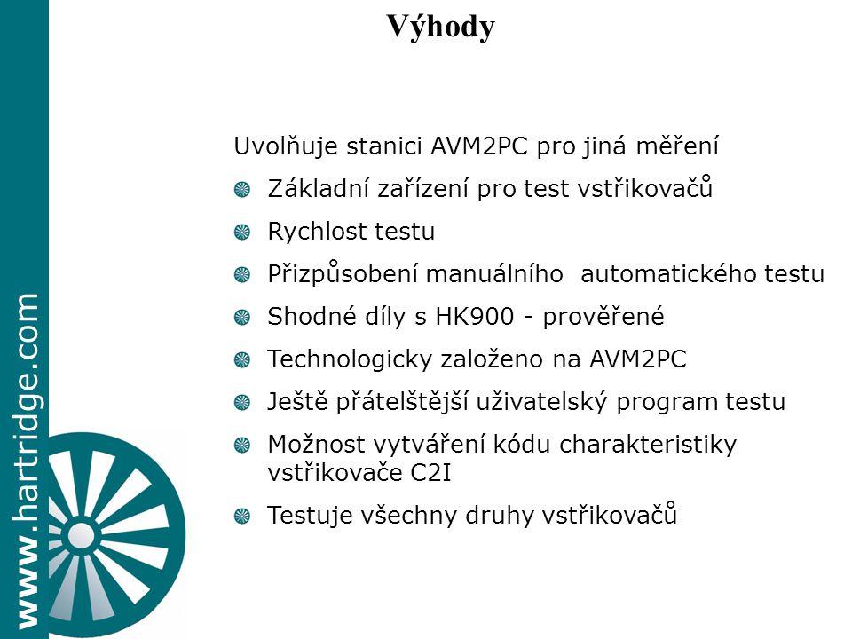 www.hartridge.com Uvolňuje stanici AVM2PC pro jiná měření Základní zařízení pro test vstřikovačů Rychlost testu Přizpůsobení manuálního automatického testu Shodné díly s HK900 - prověřené Technologicky založeno na AVM2PC Ještě přátelštější uživatelský program testu Možnost vytváření kódu charakteristiky vstřikovače C2I Testuje všechny druhy vstřikovačů Výhody
