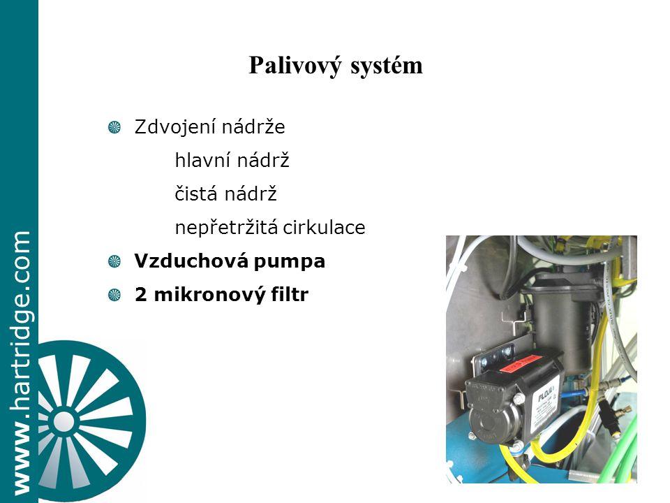 www.hartridge.com + Zdvojení nádrže hlavní nádrž čistá nádrž nepřetržitá cirkulace Vzduchová pumpa 2 mikronový filtr Palivový systém