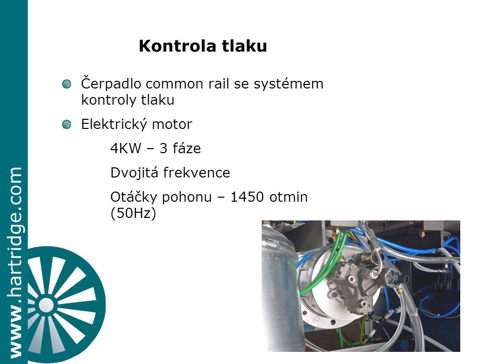 www.hartridge.com + Kontrola tlaku Čerpadlo common rail se systémem kontroly tlaku Elektrický motor 4KW – 3 fáze Dvojitá frekvence Otáčky pohonu – 1450 otmin (50Hz)