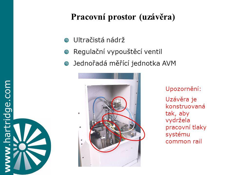 www.hartridge.com + Ultračistá nádrž Regulační vypouštěcí ventil Jednořadá měřící jednotka AVM Upozornění: Uzávěra je konstruovaná tak, aby vydržela pracovní tlaky systému common rail Pracovní prostor (uzávěra)