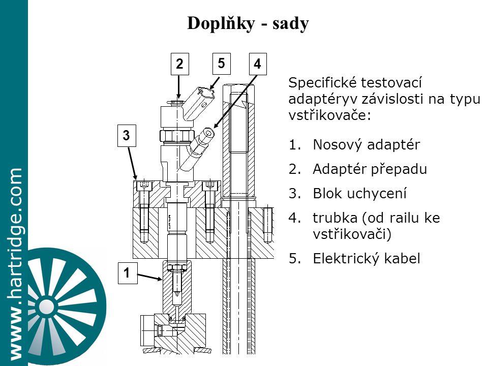 www.hartridge.com Specifické testovací adaptéryv závislosti na typu vstřikovače: 1.Nosový adaptér 2.Adaptér přepadu 3.Blok uchycení 4.trubka (od railu ke vstřikovači) 5.Elektrický kabel 1 3 24 5 Doplňky - sady