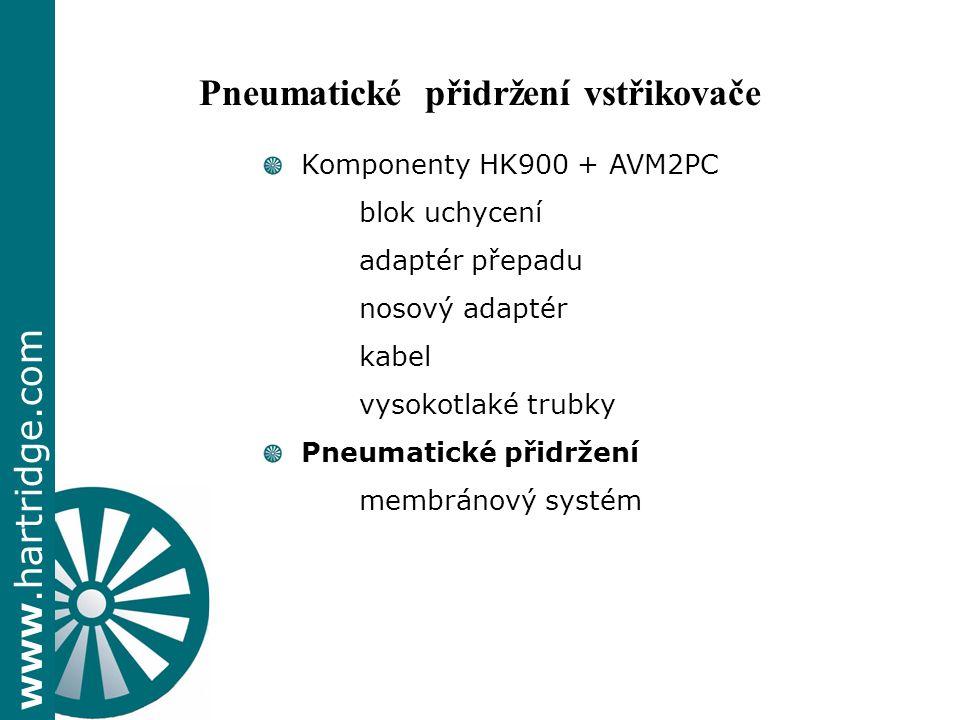 www.hartridge.com + Komponenty HK900 + AVM2PC blok uchycení adaptér přepadu nosový adaptér kabel vysokotlaké trubky Pneumatické přidržení membránový systém Pneumatické přidržení vstřikovače