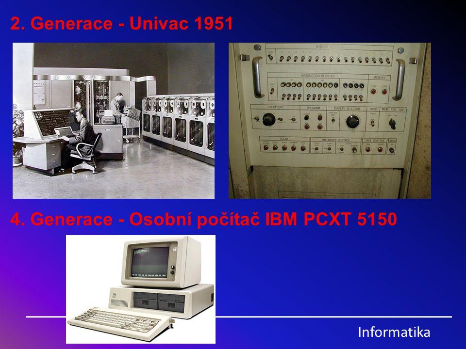Informatika Vznik PC… První počítač vznikl za 2.světové války (ENIAC) Byl veliký jako hangár a musel být klimatizován Byl bez operačního systému