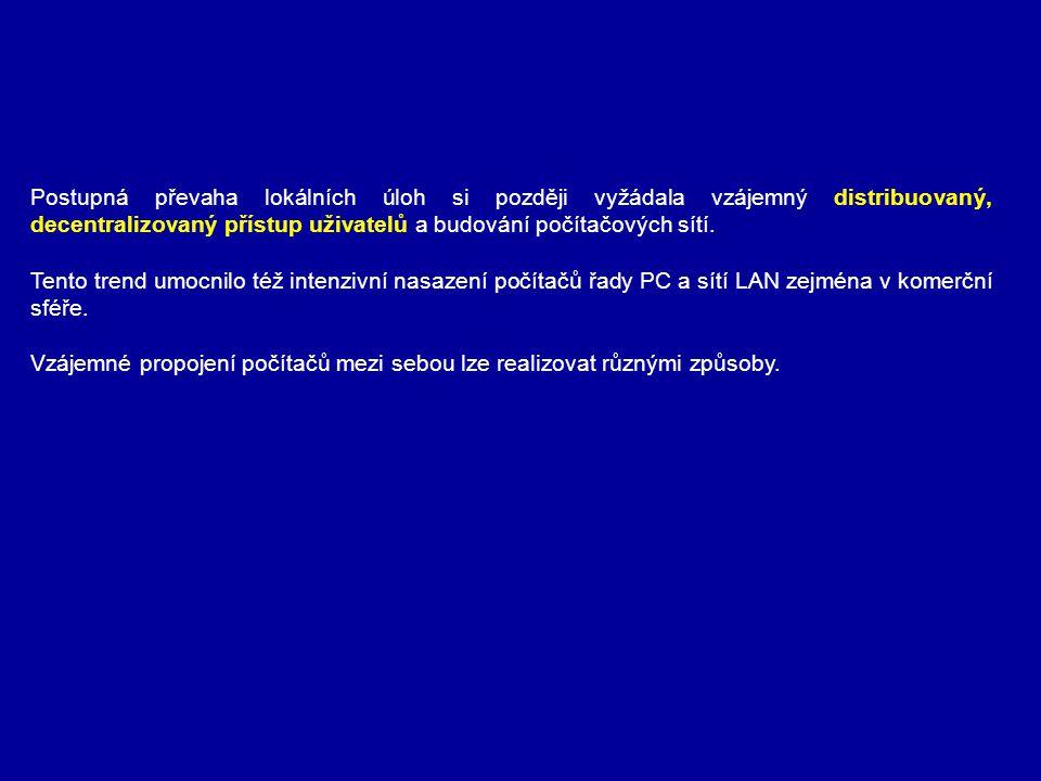 Postupná převaha lokálních úloh si později vyžádala vzájemný distribuovaný, decentralizovaný přístup uživatelů a budování počítačových sítí. Tento tre